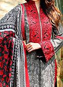 Grey/Red Linen Suit- winter dress
