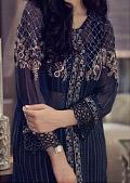 Navy Blue Chinese Chiffon Suit