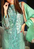Light Green/Beige Net Suit- Pakistani Designer Chiffon Suit