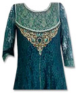 Teal Net Suit- Indian Semi Party Dress