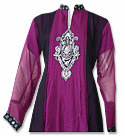 Magenta/Black Chiffon Suit- Indian Semi Party Dress