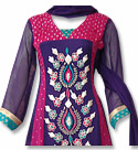 Navy/Hot Pink Chiffon Suit- Indian Semi Party Dress