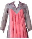Pink/Grey Chiffon Suit- Indian Semi Party Dress