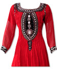 Red/Black Chiffon Suit- Indian Semi Party Dress