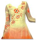 Off-white/Orange Chiffon Suit- Indian Semi Party Dress