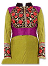 Olive Green/Purple Georgette Suit- Indian Semi Party Dress