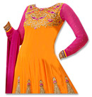 Mustered/Pink Georgette Suit- Indian Semi Party Dress
