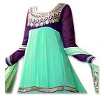 Light Sea Green/Purple Chiffon Suit - Indian Dress
