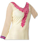 Cream/Hot Pink Georgette Suit