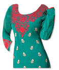 Sea Green/Red Georgette Suit