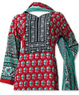 Sea Green/Red Khaddar Suit- Pakistani Casual Dress