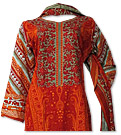 Orange Khaddar Suit- Pakistani Casual Dress