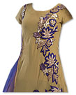 Golden/Blue Chiffon Suit- Indian Semi Party Dress