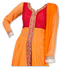 Mustered Chiffon Suit- Indian Semi Party Dress