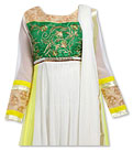 White/Yellow Chiffon Suit- Indian Semi Party Dress
