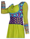 Parrot Green/Turquoise Chiffon Suit- Indian Semi Party Dress