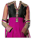Grey/Hot Pink/Black Chiffon Suit- Indian Semi Party Dress
