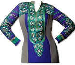 Royal Blue/Grey Georgette Suit