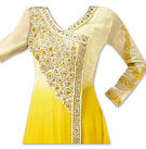 Yellow/Off-white Chiffon Suit- Indian Semi Party Dress