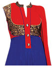 Blue/Red Chiffon Suit- Indian Semi Party Dress