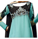 Sky Blue/Black Chiffon Suit- Indian Semi Party Dress