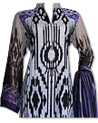 Off-white/Purple Cotton Lawn Suit- Casual Salwar Kameez