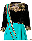 Turquoise/Black Chiffon Suit- Indian Semi Party Dress
