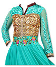 Turquoise/Brown Chiffon Suit- Indian Semi Party Dress