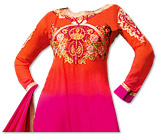 Orange/Hot Pink Chiffon Suit - Indian Semi Party Dress
