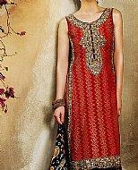Deep Red/Black Lawn Suit- Cotton dress