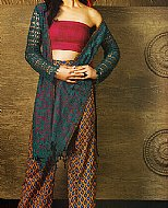 Teal Lawn Net Suit- Pakistani Designer Lawn Dress