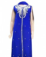 Royal Blue Chiffon Suit- Indian Semi Party Dress