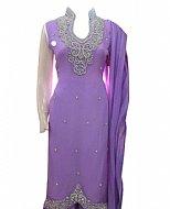 Lilac Chiffon Suit- Indian Semi Party Dress