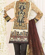 Ivory/Brown Lawn Suit- Pakistani Designer Lawn Dress