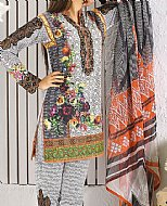 Off-white/Black Lawn Suit- Pakistani Designer Lawn Dress