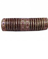 Metallic Bangles - Maroon/Golden