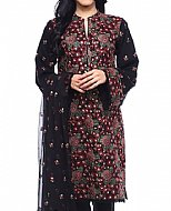 Maroon/Black Cotton Karandi Suit
