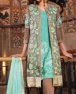 Turquoise/Beige Chiffon Suit