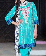 Turquoise Swiss Voile Suit- Pakistani Lawn