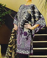 Black/Indigo Lawn Suit.- Pakistani Designer Lawn Dress