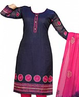 Navy Blue/Pink Georgette Suit- Indian casual clothes