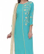 Turquoise Georgette Suit- Indian casual clothes