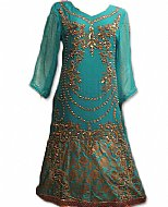 Turquoise Crinkle Chiffon Suit- Indian Party dress