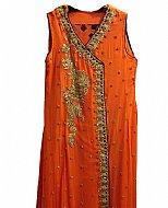 Rust Crinkle Chiffon Suit- Pakistani formals