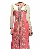Off-white/Pink Georgette Suit- Indian Semi Party Dress