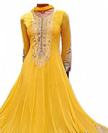 Yellow Chiffon Suit- Indian Semi Party Dress