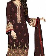 Dark Brown Georgette Suit- Indian Semi Party Dress