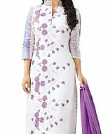 Off-white/Purple Georgette Suit- Indian Semi Party Dress