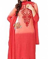 Carrot Pink Chiffon Suit- Indian Semi Party Dress
