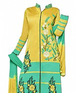 Yellow/Sea Green Georgette Suit